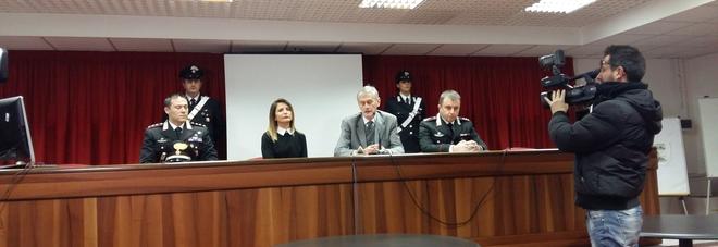 Da sinistra il capitano Ruiu, il sostituto Spinelli, il procuratore De Gasperis e il tenente colonnello Barbera
