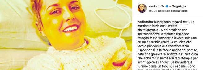 Nadia Toffa, la foto durante la chemio: «A chi mi vuole morta dico...»