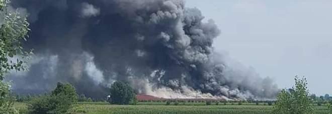 Colonna di fumo nero: incendio in un'azienda di pollame: «Restate in casa»