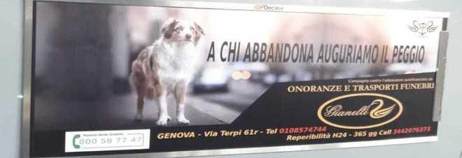 «A chi abbandona i cani auguriamo il peggio», lo spot choc delle pompe funebri sui bus di Genova