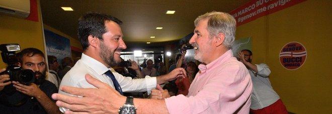 Salvini e Bucci (Ansa)