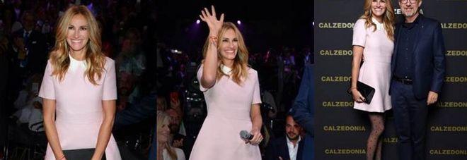 Julia Roberts sfila per Calzedonia. Alla serata anche Chiara Ferragni
