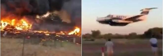 I frame del video che hanno ripreso lo schianto dell'aereo in Botswana