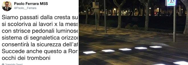 «Nuove strisce pedonali a Roma sotto gli occhi dei tromboni», ma la foto è in Spagna. Bufera su Ferrara del M5S