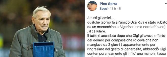 Gigi Riva derubato da un mendicante: «Gli ha sfilato il cellulare»