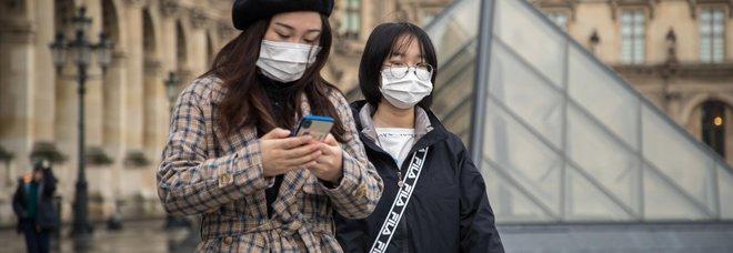 Turiste con la mascherina al Louvre