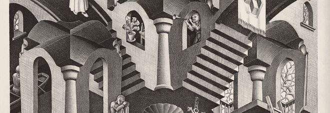 Maurits Cornelis Escher Convesso e concavoMarzo 1955 Litografia, 27,5x33,5 cm Collezione Giudiceandrea Federico All M.C. Escher works © 2016 The M.C. Escher Company. All rights reserved