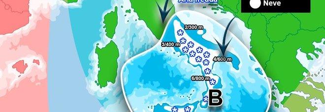 Meteo, ecco dove nevicherà domani. Mercoledì gelido, allerta dal Lazio alla Sicilia