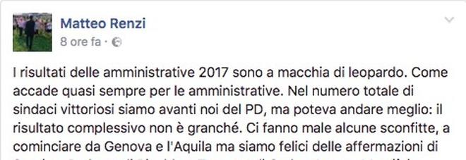 """Renzi su Facebook minimizza la sconfitta: """"Voto locale, le politiche sono un'altra cosa"""""""