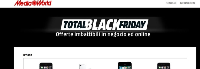 Total Black Friday MediaWorld, tutte le offerte disponibili da oggi a domenica