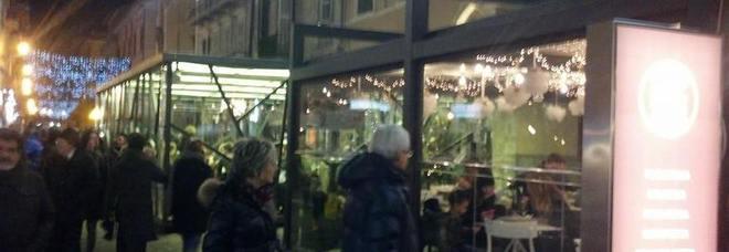 I dehors istallati e poi rimossi in piazza Arringo