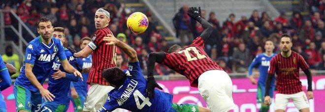 Niente tris per il Milan, pari del Sassuolo a San Siro. Leao, traversa e palo
