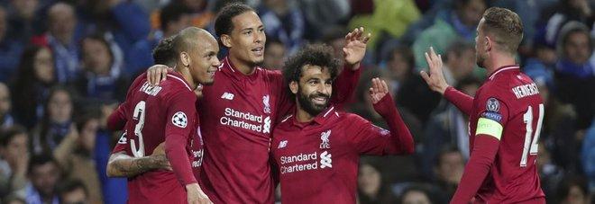 Liverpool in semifinale, Salah esulta con i compagni
