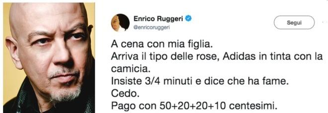 Enrico Ruggeri e il venditore di rose: «Gli ho dato un euro, ma non voleva monete». E su Twitter è polemica
