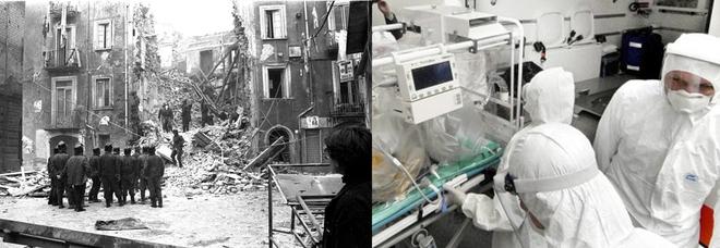I soccorsi nel terremoto in Irpinia e operatori sanitari impegnati a curare malati di Coronavirus