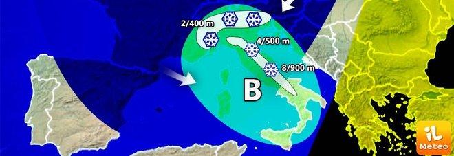 Meteo, arriva il gelo sull'Italia Pieno inverno e neve anche a quote basse