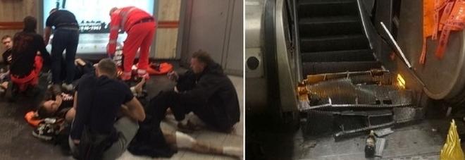 Roma, crolla scala mobile nella metro: 24 feriti, tifosi Cska gravi. «Saltavano, poi il cedimento»