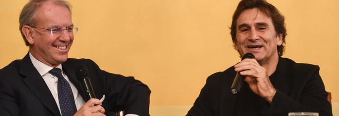 Alex Zanardi (a destra) con il direttore del Gazzettino Roberto Papetti