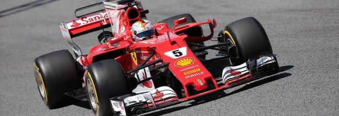 La Ferrari di Sebastian Vettel a Barcellona