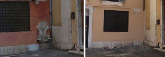 Fontanella storica scompare dopo il restauro del palazzo in centro a Roma, i residenti: «È stata rubata»