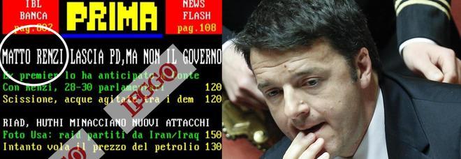 """Matteo Renzi lascia il Pd, è diventato """"Matto"""": l'epic fail su Televideo"""