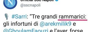 Napoli bocciato in grammatica: «Tre rammarici» e il web sorride