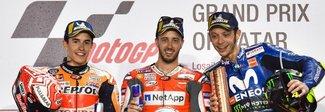 Moto Gp, Dovizioso vince a Losail davanti a Marquez e Rossi