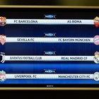 Champions, nei quarti Italia-Spagna Barcellona-Roma e Juve-Real Madrid