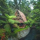 Vacanza da sogno nella casa-capanna di bambù nella giungla di Bali