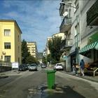 Buca in strada segnalata con il cassonetto della spazzatura
