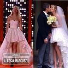 Alessia Marcuzzi si presenta con l'abito da sposa del suo matrimonio per la finale dell'Isola