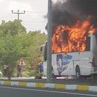 Pullman in fiamme in autostrada: 5 morti