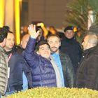Maradona arrivato a Napoli (Newfotosud)