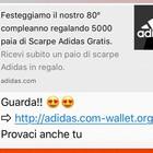 Adidas, truffa su Whatsapp: «Scarpe gratis», ma il messaggio è un pericolo. Ecco come difendersi