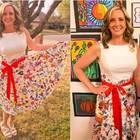 Rebecca Bonner sfoggia il vestito disegnato dai suoi studenti